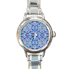 Elegant Turquoise Blue Flower Pattern Round Italian Charm Watches by Costasonlineshop