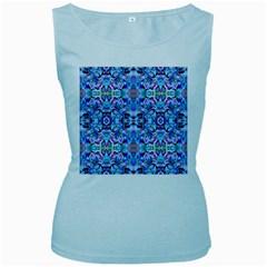 Elegant Turquoise Blue Flower Pattern Women s Baby Blue Tank Tops by Costasonlineshop
