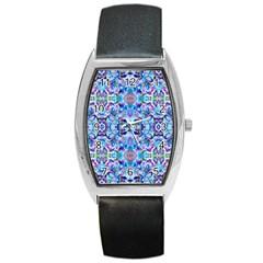 Elegant Turquoise Blue Flower Pattern Barrel Metal Watches by Costasonlineshop