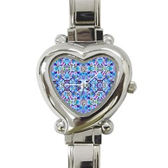 Elegant Turquoise Blue Flower Pattern Heart Italian Charm Watch by Costasonlineshop