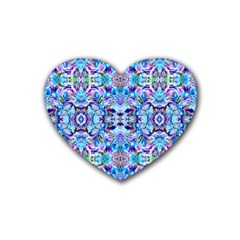 Elegant Turquoise Blue Flower Pattern Rubber Coaster (heart)  by Costasonlineshop