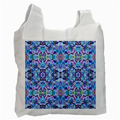 Elegant Turquoise Blue Flower Pattern Recycle Bag (one Side) by Costasonlineshop