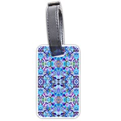 Elegant Turquoise Blue Flower Pattern Luggage Tags (one Side)  by Costasonlineshop