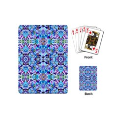 Elegant Turquoise Blue Flower Pattern Playing Cards (mini)  by Costasonlineshop
