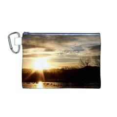 SETTING SUN AT LAKE Canvas Cosmetic Bag (M) by trendistuff