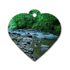 Rocky Stream Dog Tag Heart (one Side) by trendistuff