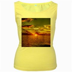 TAHITIAN SUNSET Women s Yellow Tank Tops by trendistuff