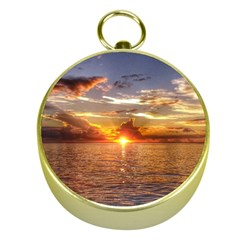 TAHITIAN SUNSET Gold Compasses by trendistuff