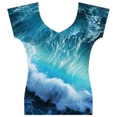 STORM WAVES Women s V-Neck Cap Sleeve Top by trendistuff