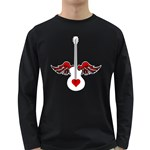 Flying Heart Guitar Long Sleeve Dark T-Shirt