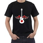 Flying Heart Guitar Men s T-Shirt (Black)