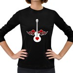 Flying Heart Guitar Women s Long Sleeve Dark T-Shirt