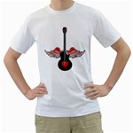 Flying Heart Guitar Men s T-Shirt (White)