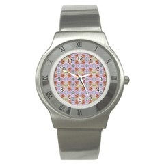 Pink Light Blue Pastel Flowers Stainless Steel Watches by Costasonlineshop