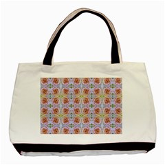 Pink Light Blue Pastel Flowers Basic Tote Bag  by Costasonlineshop
