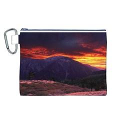 San Gabriel Mountain Sunset Canvas Cosmetic Bag (l) by trendistuff