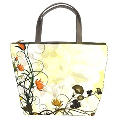 Wonderful Flowers With Leaves On Soft Background Bucket Bags by FantasyWorld7