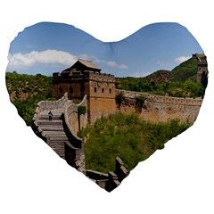 Great Wall Of China 3 Large 19  Premium Flano Heart Shape Cushions by trendistuff