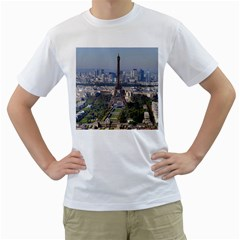 Eiffel Tower 2 Men s T Shirt (white) (two Sided) by trendistuff
