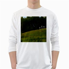 THREE CROSSES ON A HILL White Long Sleeve T-Shirts by trendistuff