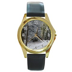 Snow On Road Round Gold Metal Watches by trendistuff