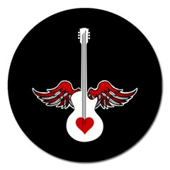 Flying Heart Guitar Magnet 5  (round) by waywardmuse