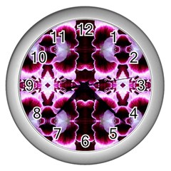White Burgundy Flower Abstract Wall Clocks (silver)  by Costasonlineshop