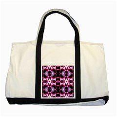 White Burgundy Flower Abstract Two Tone Tote Bag  by Costasonlineshop