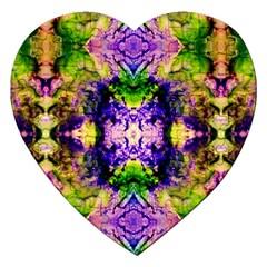 Green,purple Yellow ,goa Pattern Jigsaw Puzzle (heart) by Costasonlineshop