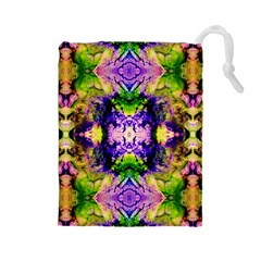 Green,purple Yellow ,goa Pattern Drawstring Pouches (large)  by Costasonlineshop