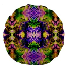 Green,purple Yellow ,goa Pattern Large 18  Premium Flano Round Cushions by Costasonlineshop