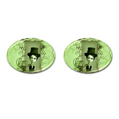 Cute Girl With Steampunk Hat And Floral Elements Cufflinks (oval) by FantasyWorld7