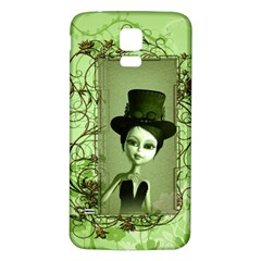 Cute Girl With Steampunk Hat And Floral Elements Samsung Galaxy S5 Back Case (White) by FantasyWorld7