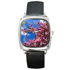 Pink Flowers Square Metal Watches by trendistuff