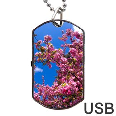 Pink Flowers Dog Tag Usb Flash (two Sides)  by trendistuff