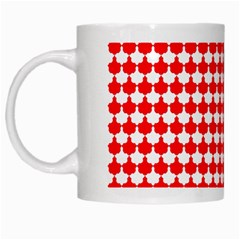Red And White Scallop Repeat Pattern White Mugs by PaperandFrill