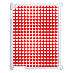 Red And White Scallop Repeat Pattern Apple Ipad 2 Case (white) by PaperandFrill