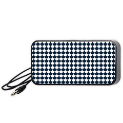 Navy And White Scallop Repeat Pattern Portable Speaker (black)  by PaperandFrill