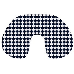 Navy And White Scallop Repeat Pattern Travel Neck Pillows by PaperandFrill