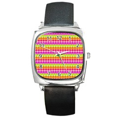 Scallop Pattern Repeat In 'la' Bright Colors Square Metal Watches by PaperandFrill