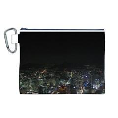 Seoul Night Lights Canvas Cosmetic Bag (l) by trendistuff