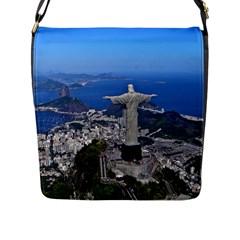 Christ On Corcovado Flap Messenger Bag (l)  by trendistuff