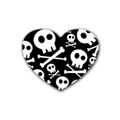 Cute Skulls Heart Coaster (4 Pack)  by waywardmuse