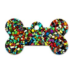 Colorful Stones, Nature Dog Tag Bone (two Sides) by Costasonlineshop