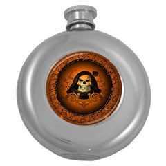 Awsome Skull With Roses And Floral Elements Round Hip Flask (5 oz) by FantasyWorld7