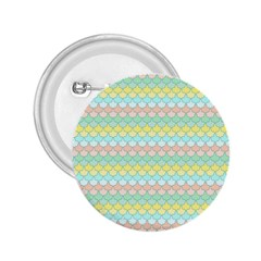 Scallop Repeat Pattern In Miami Pastel Aqua, Pink, Mint And Lemon 2 25  Buttons by PaperandFrill