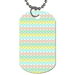 Scallop Repeat Pattern In Miami Pastel Aqua, Pink, Mint And Lemon Dog Tag (two Sides) by PaperandFrill