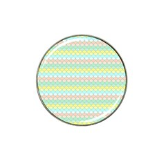 Scallop Repeat Pattern In Miami Pastel Aqua, Pink, Mint And Lemon Hat Clip Ball Marker (10 Pack) by PaperandFrill