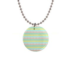 Scallop Repeat Pattern In Miami Pastel Aqua, Pink, Mint And Lemon Button Necklaces by PaperandFrill