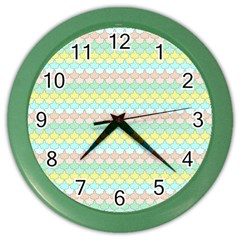 Scallop Repeat Pattern In Miami Pastel Aqua, Pink, Mint And Lemon Color Wall Clocks by PaperandFrill